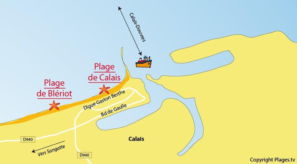 Plan des plages de Calais dans le Nord