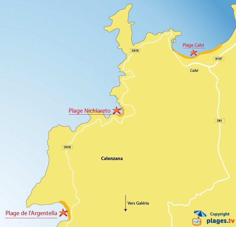 Plan des plages de Calenzana en Corse