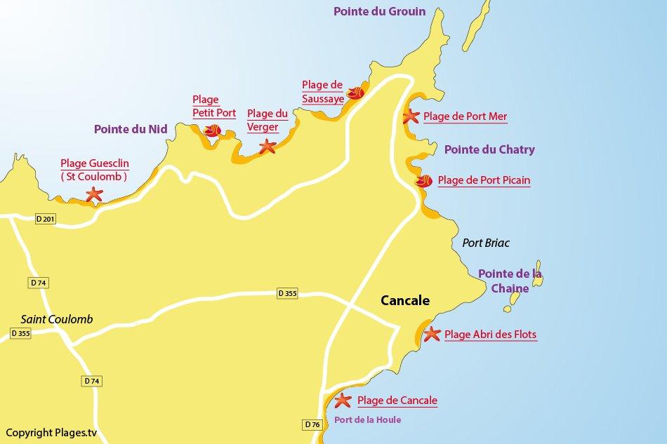 Plan des plages de Cancale en Bretagne