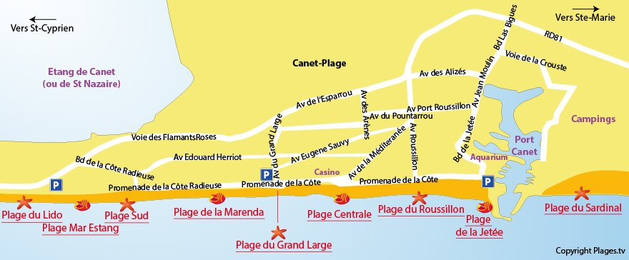 Plan des plages du Canet en Roussillon dans le 66