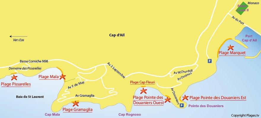 Plan des plages du Cap d'Ail