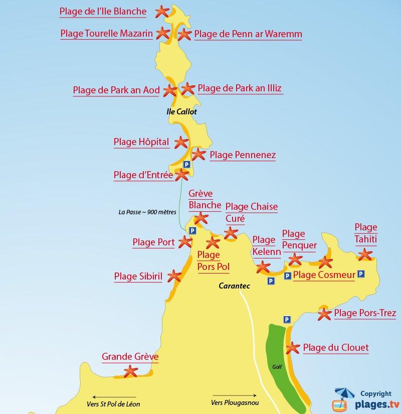 Plan des plages de Carantec en Bretagne