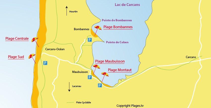 Carte des plages à Carcans - Océan et lac