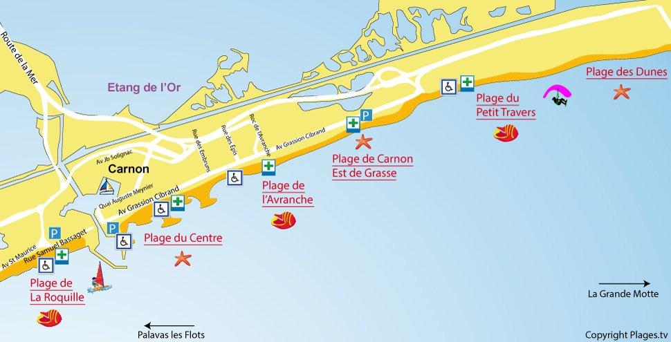 Carte des plages de Carnon 34