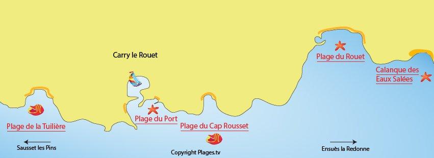 Plan des plages de Carry le Rouet