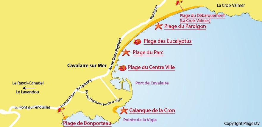 Carte des plages de Cavalaire sur Mer dans le Var