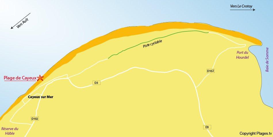 Plan des plages de Cayeux sur Mer