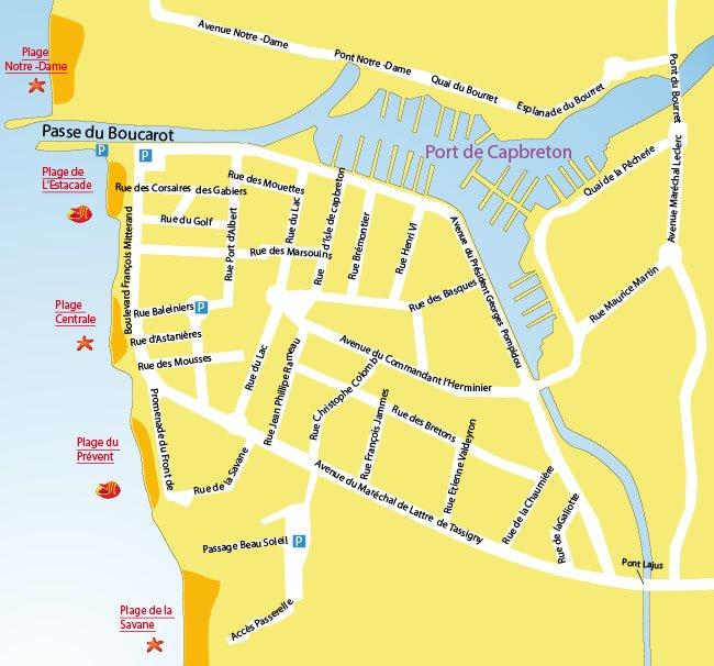 Plan des plages du centre-ville de Capbreton