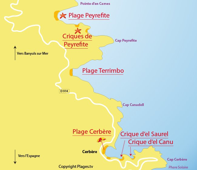 Carte des plages de Cerbère 66