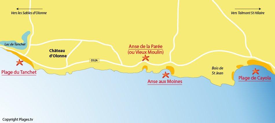 Plan des plages à Chateau d'Olonne en Vendée