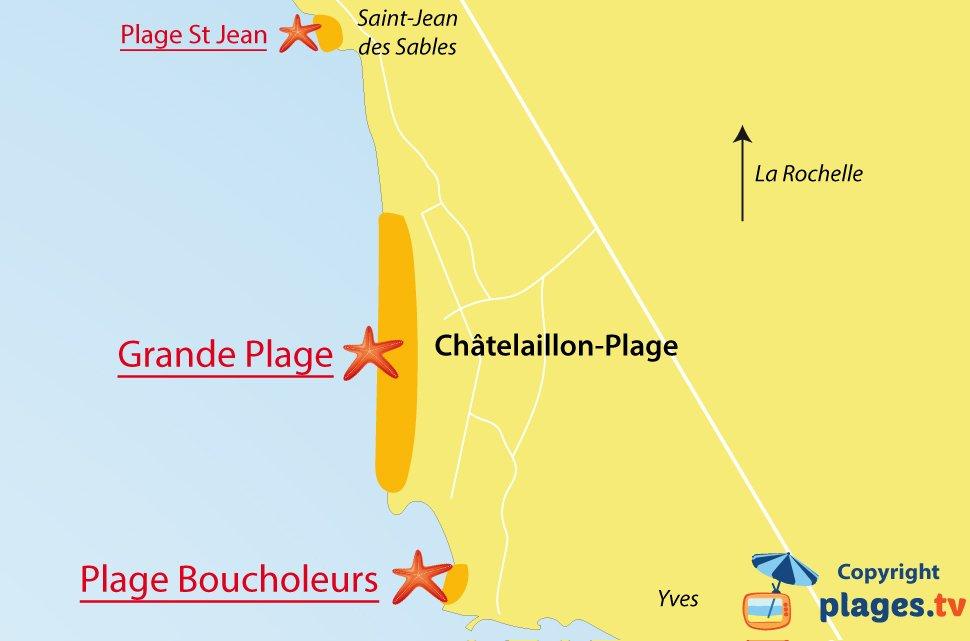 Plan des plages de Chatelaillon en Charente Maritime