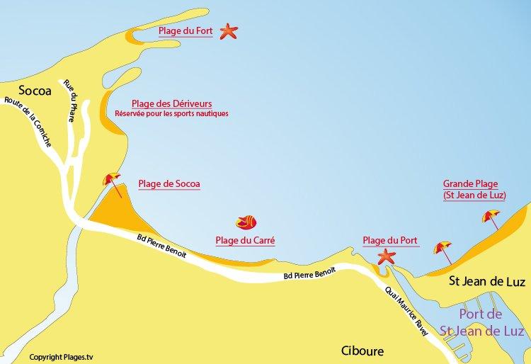 Plan des plages de Socoa et de Ciboure dans le Pays Basque