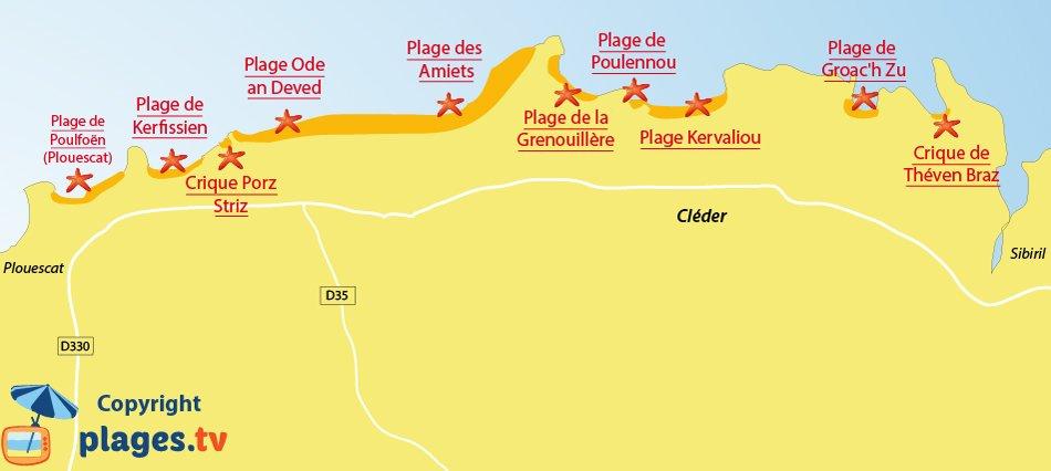 Plan des plages de Cléder - Bretagne