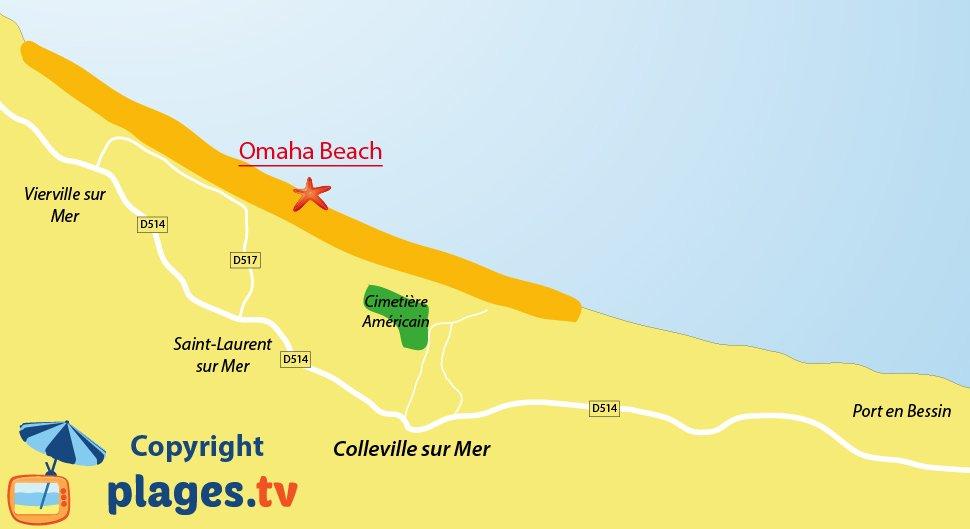 Plan de la plage de Colleville sur Mer en Normandie