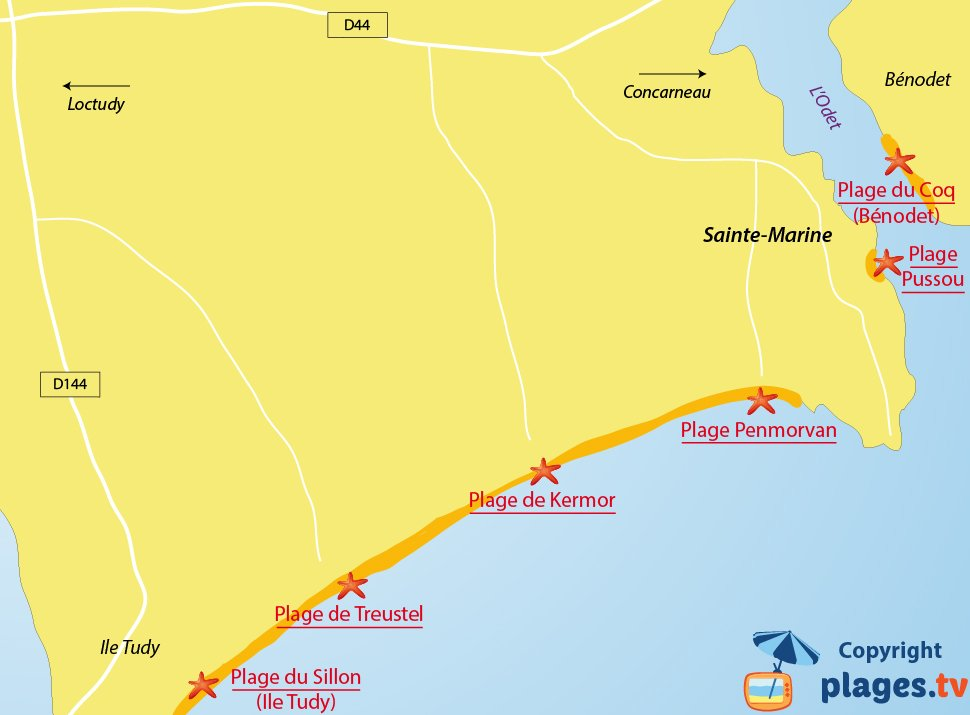 Plan des plages de Combrit et de Sainte Marime en Bretagne
