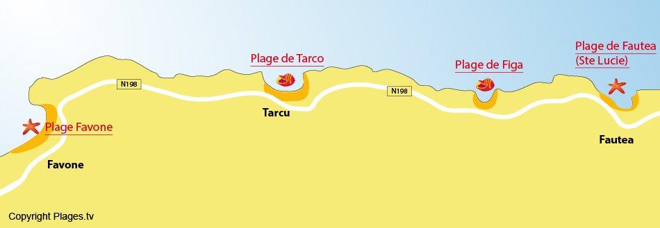 Plan des plages de Conca - Corse