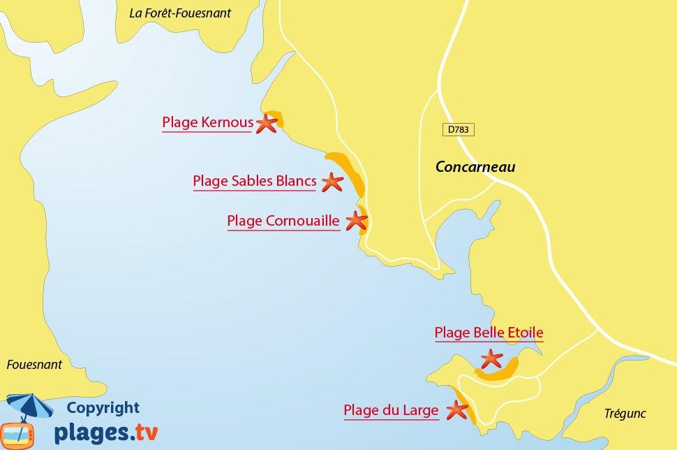 Plan des plages de Concarneau