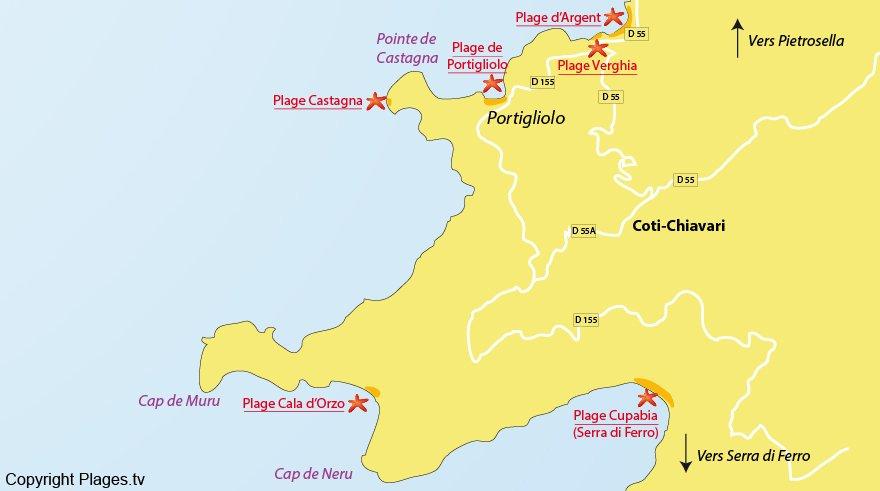 Plan des plages de Coti Chiavari en Corse