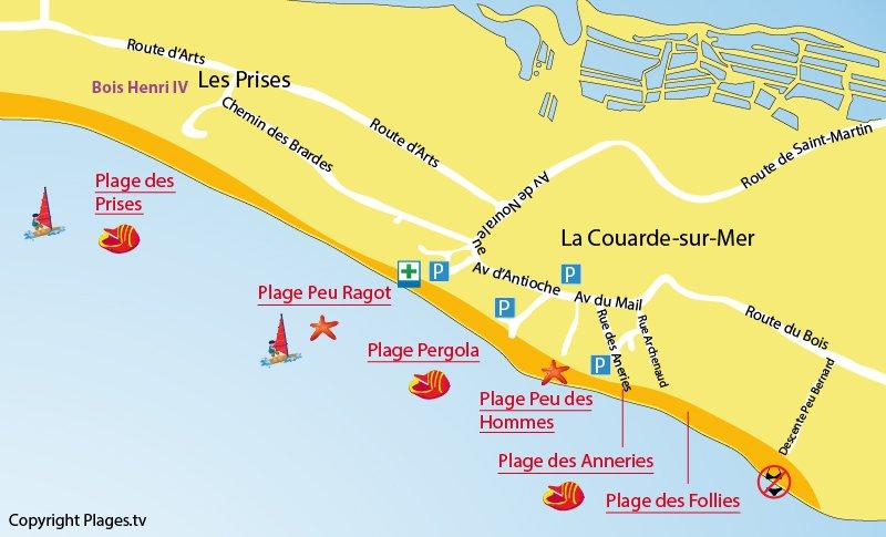Plan des plages de Couarde sur Mer sur l'Ile de Ré