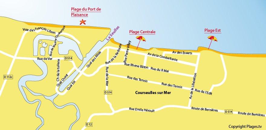 Plan de la plage de Courseulles sur Mer dans le Calvados