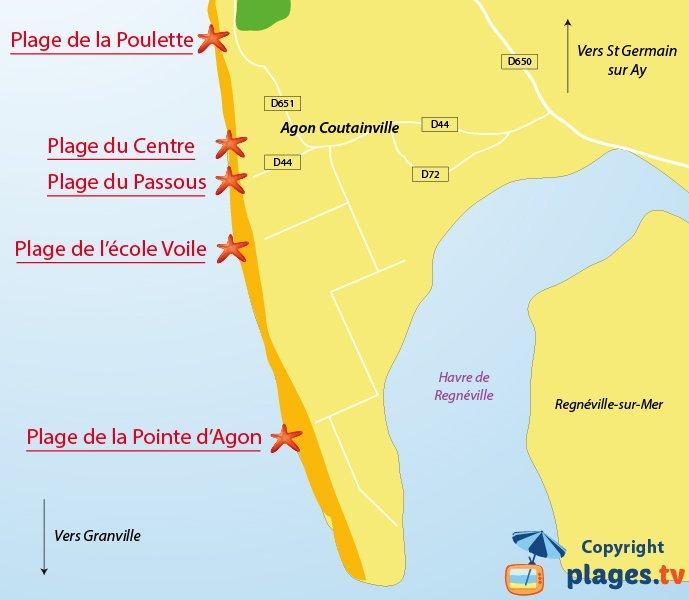 Plan des plages de Coutainville dans la Manche