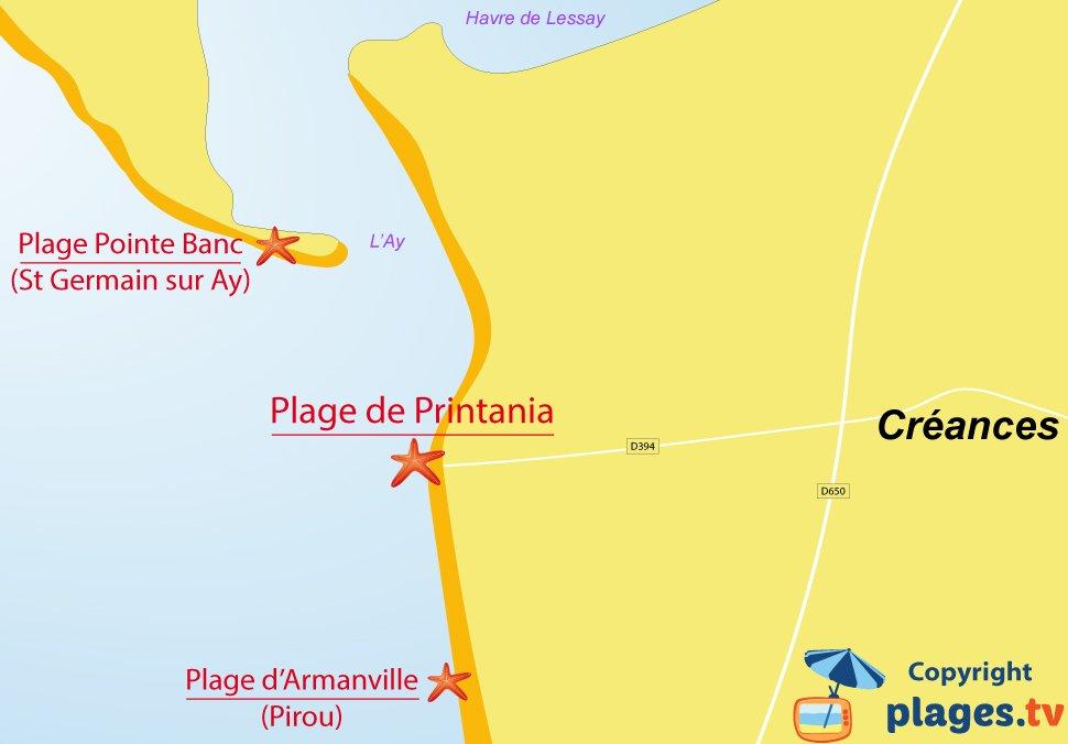 Plan des plages de Créances en Normandie