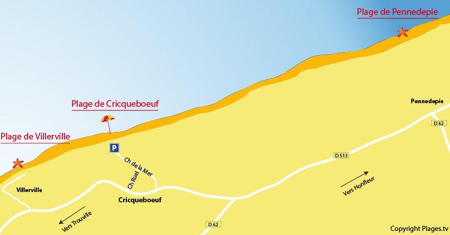 Plan des plages de Cricqueboeuf en Normandie