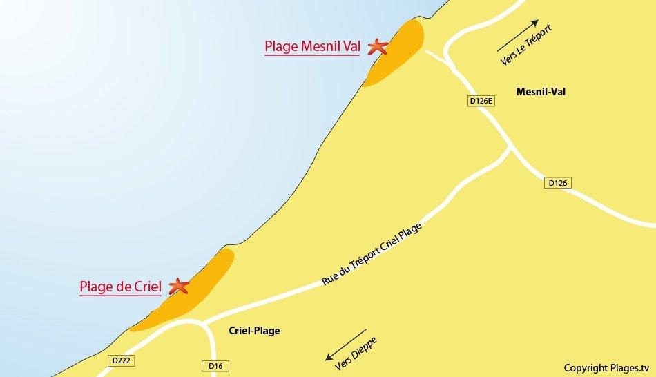 Plan des plages à Criel sur Mer