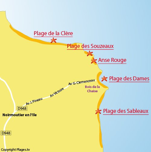 map of the Ladies Beach in Noirmoutier