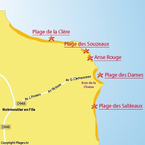 Mappa della spiaggia di Dames a Noirmoutier - Francia