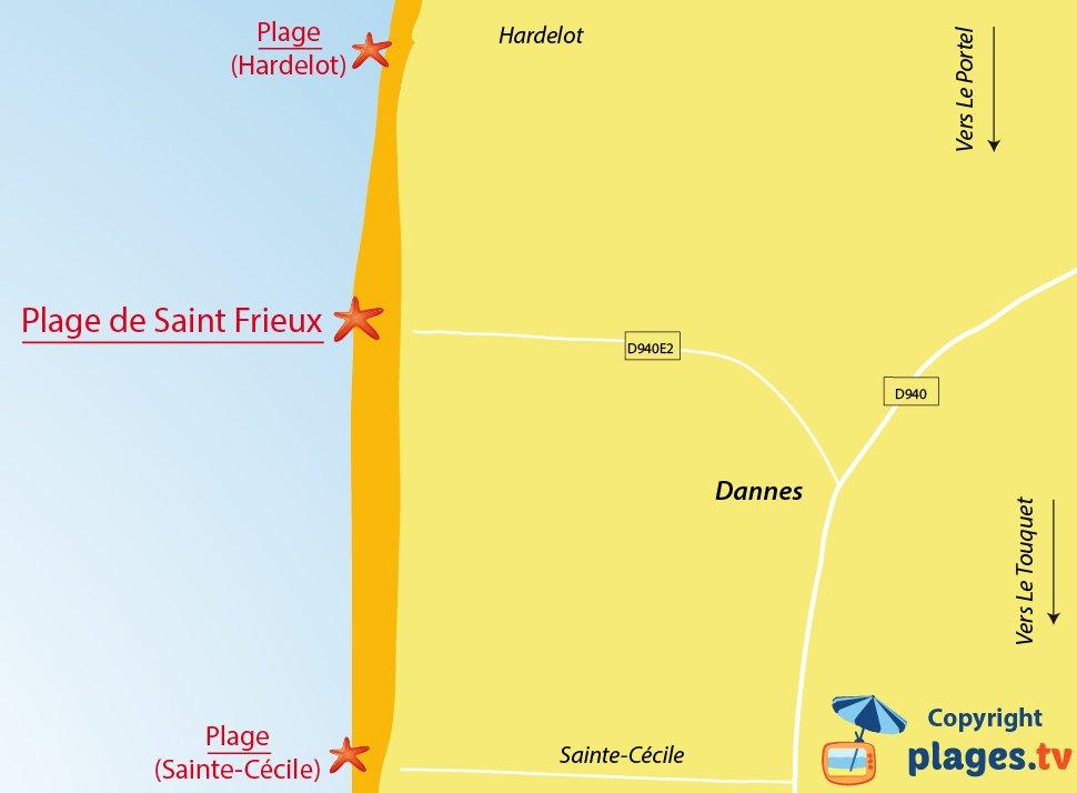 Plan des plages de Dannes dans le Nord
