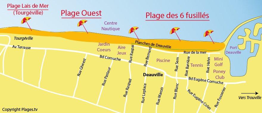 Plan des plages de Deauville