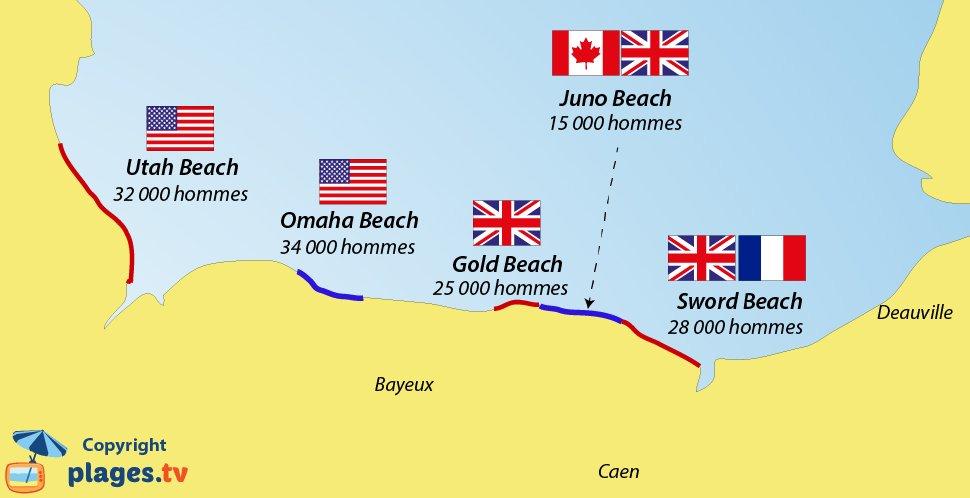 carte plages du débarquement Plages du Débarquement en Normandie   Juin 1944
