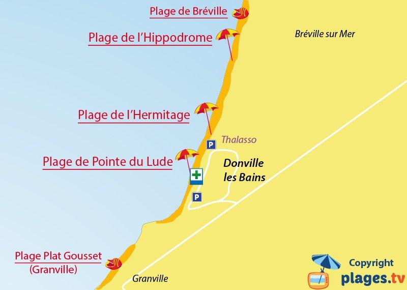 Plan des plages de Donville dans la Manche