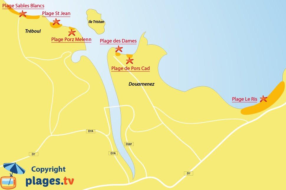 Plan des plages de Douarnenez en Bretagne
