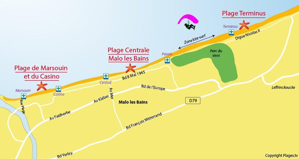 Plan des plages de Dunkerque - Malo les Bains