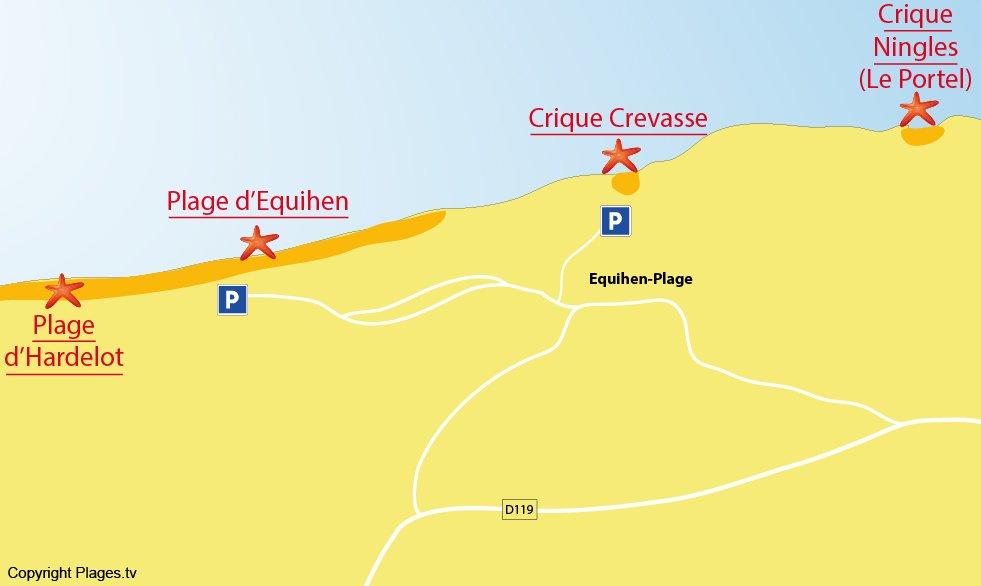 Plan des plages d'Equihen