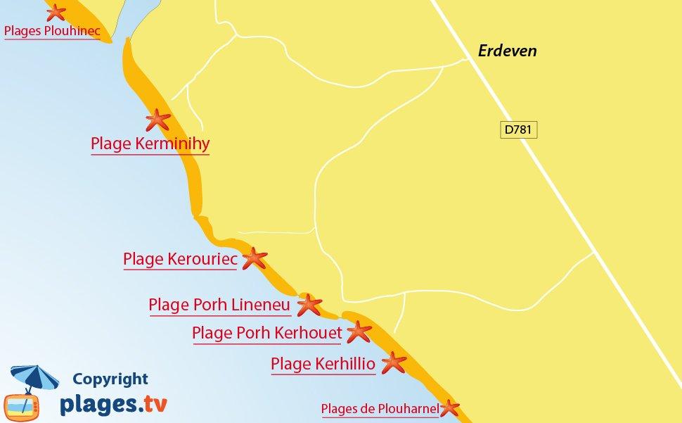 Plan des plages d'Erdeven en Bretagne