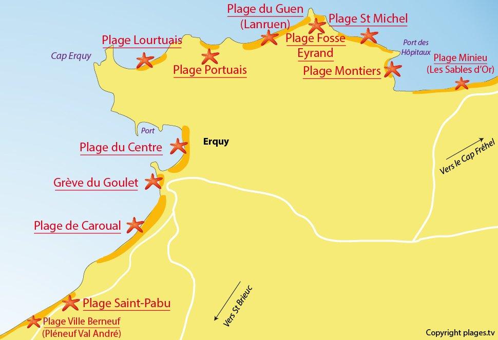 Plan des plages à Erquy en Bretagne