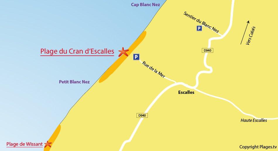 Plan des plages autour d'Escalles et du Cap Blanc