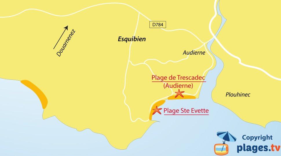 Plan des plages à Esquibien en Bretagne
