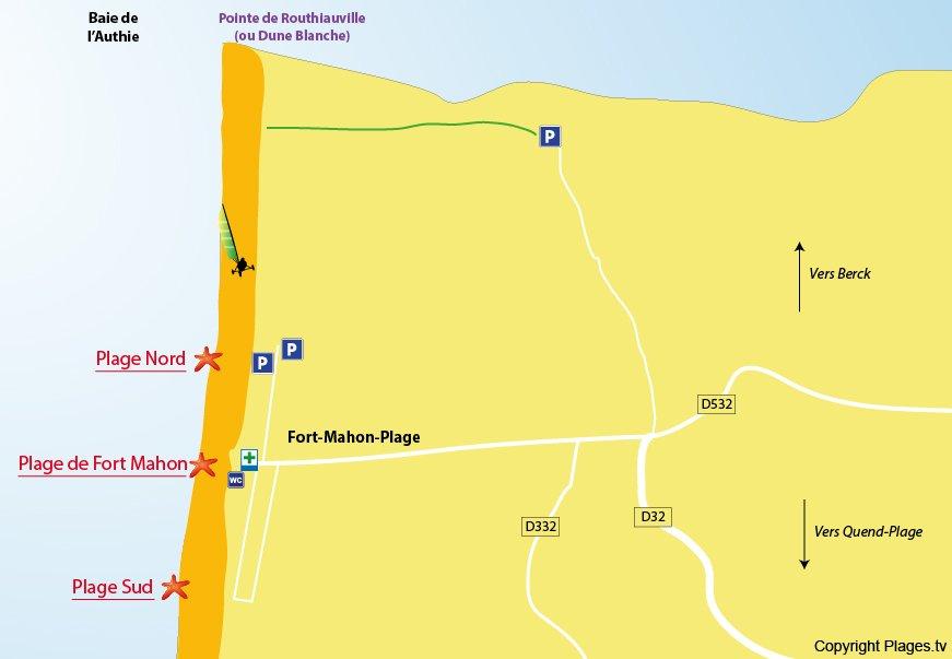 Plan des plages de Fort Mahon (Somme)