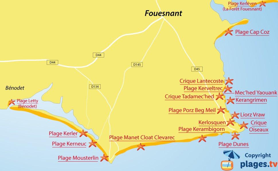 Plan des plages de Fouesnant en Bretagne