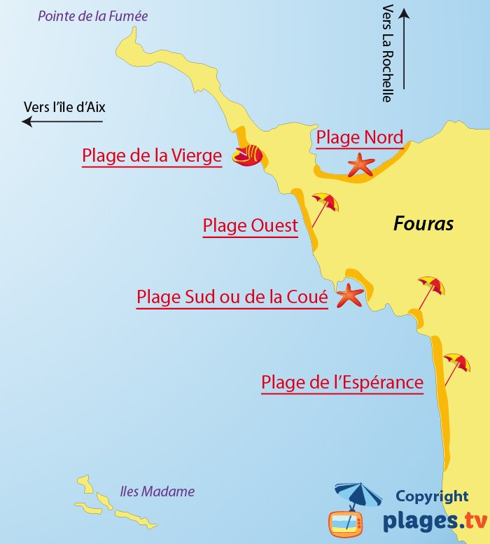 Plan des plages de Fouras - Charente Maritime