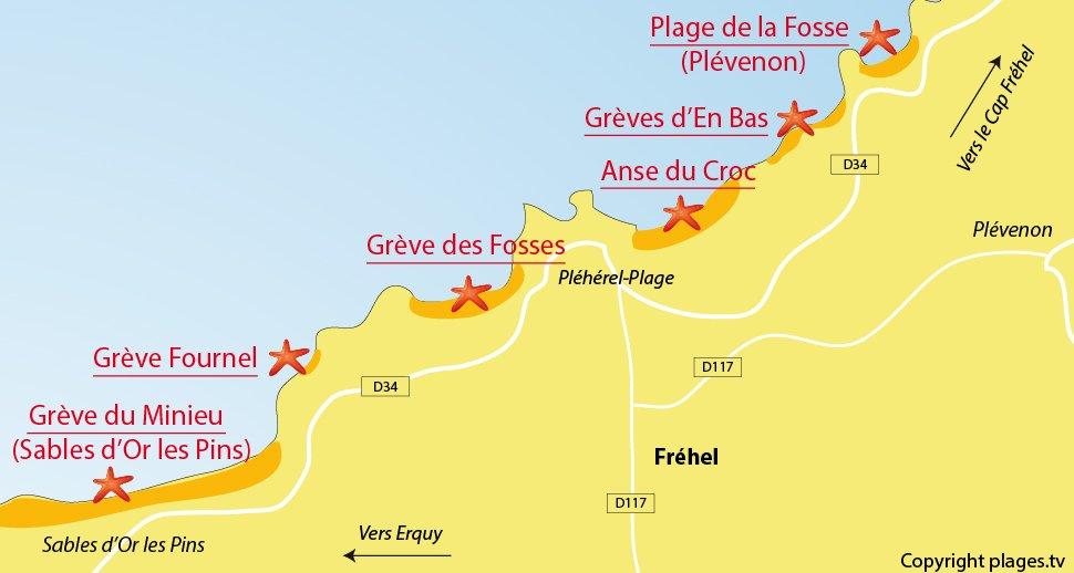 Plan des plages de Fréhel en Bretagne