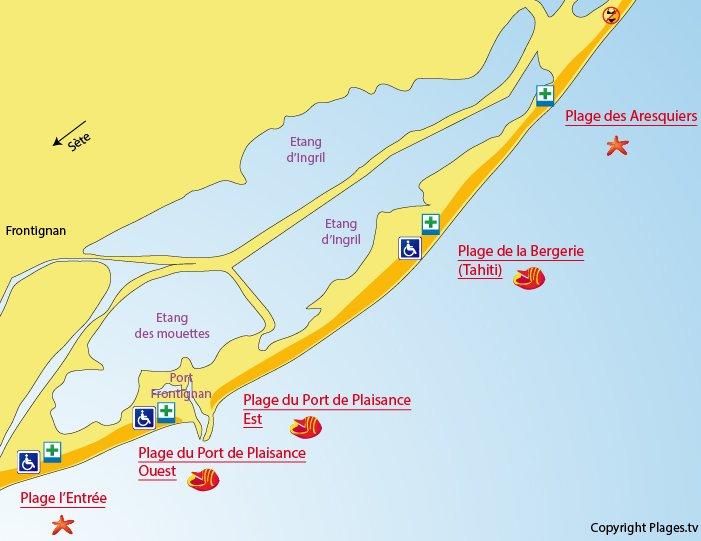 Plan des plages de Frontignan