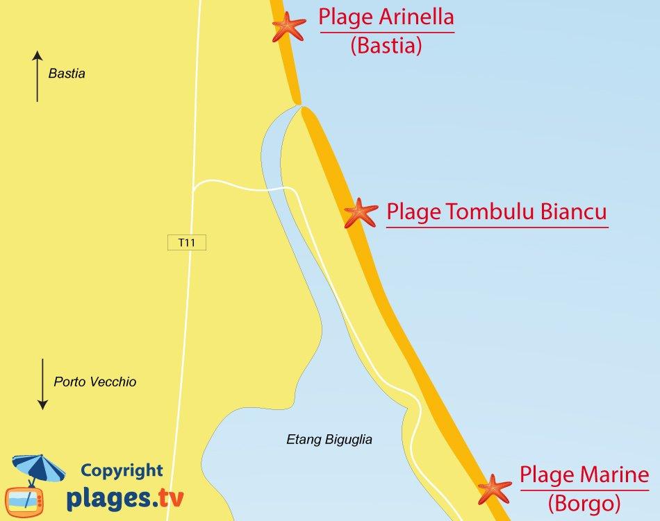 Plan des plages de Furiani en Corse