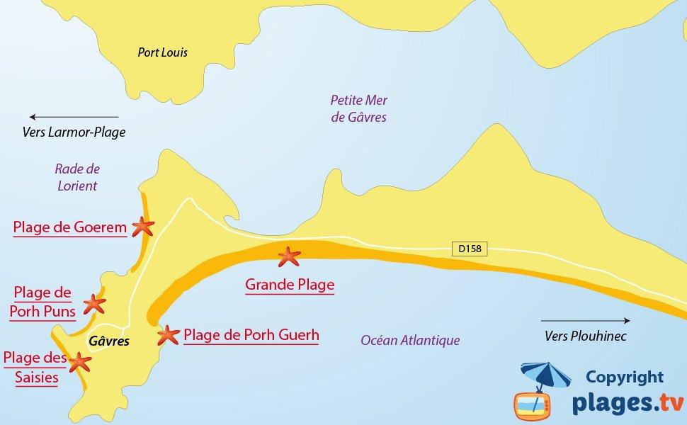 Plan des plages de Gavres en Bretagne