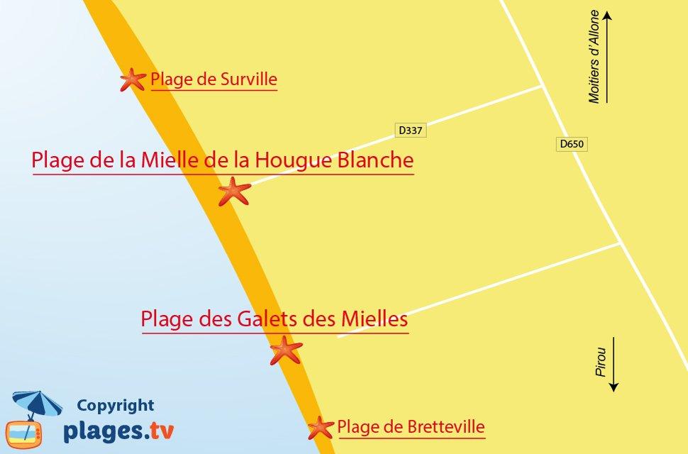 Plan des plages de Glatigny dans la Manche