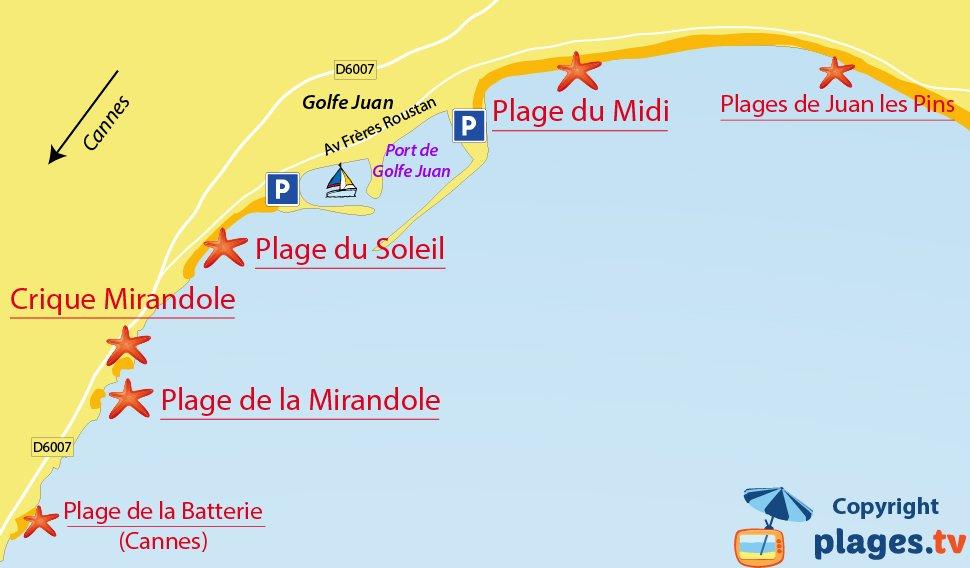 Plan des plages de Golfe Juan Vallauris